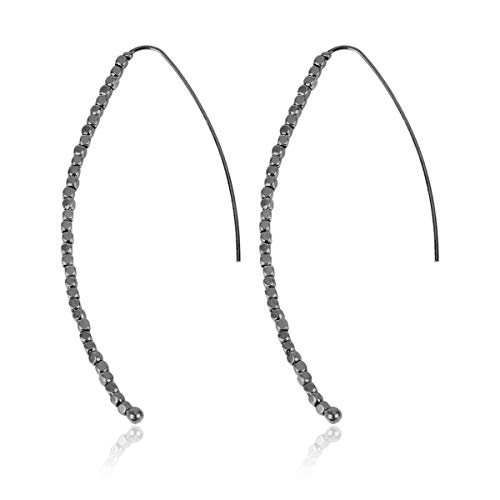 RIAH FASHION Modern Metallic Arc Bar Pull Through Threader Earrings - Simple Lightweight Curved Vertical Drop Open Fish Hoop Dangles (Beaded Threader - Hematite) ()
