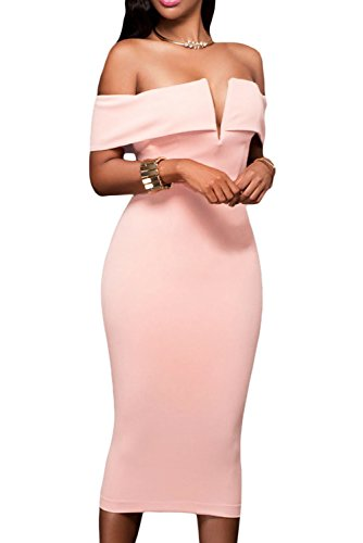 Alvaq Women's Sexy V Neck Off The Shoulder Evening Bodycon Club Midi Dress, Peach, (Sexy Peach)