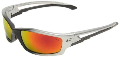 Edge Eyewear Safety Glasses (Edge Eyewear SKAP119 Kazbek Safety Glasses, Black with Aqua Precision Red Mirror Lens)
