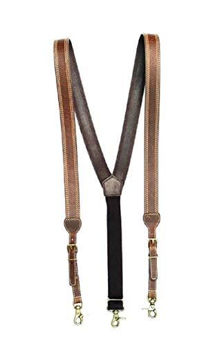 Nocona Belt Co. Men's Triple Stitched Suspenders Brown - Leather Western Suspenders