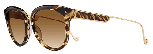 Chrome Hearts Blow Jay I (55mm, Sterling Silver or 18K Brown Gold Plated) (Vintage Striped / Gold - Sunglasses Chromehearts