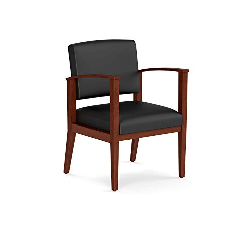 OfficeSource Chelsea Designer Office Guest Arm Chair, Cherry Finish, Black Bonded Leather, Sold Wood Frame, Reception, Waiting Rooms (1600CHTEK)