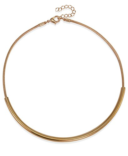 XS Accessories Simple Rose Gold Metal Choker with Omega Chain ()