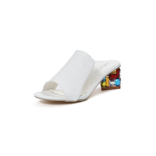 Colorido Diamante de Imitación Zapatos de Tacón Alto Sandalias Elegante Transparente Zapatillas Verano Zapato Mujer Blanco