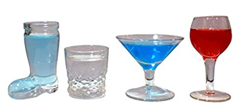 Funny Shot Glasses Bar Drinking - 4 Pcs Set -Fun Cool Sexy Designer Fancy Clear Glass Awesome Unique Alcohol Party Shots Whiskey Cocktail Shooter for Men Women Boys Girls Seniors by Perfect Life Ideas (Glasses Cocktail Mini)