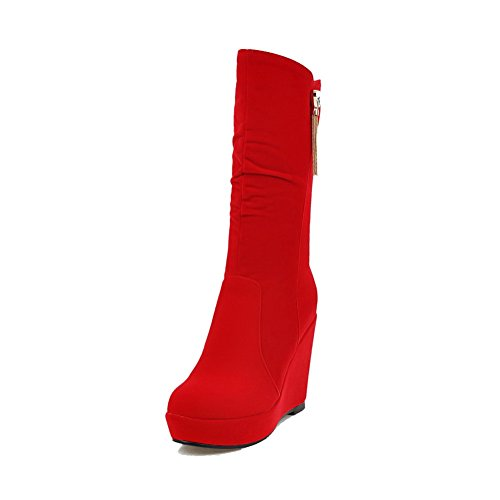 Allhqfashion Women's Frosted Zipper Closed Round Toe High-Heels Low-top Boots Red NB0i2cBJPX