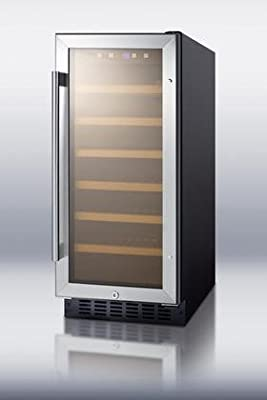 Summit SWC1535B Wine Chiller Beverage Refrigerator, Glass/Black
