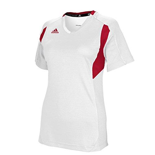 adidas Women's Utility Short Sleeve Jersey (Medium, White/Red)