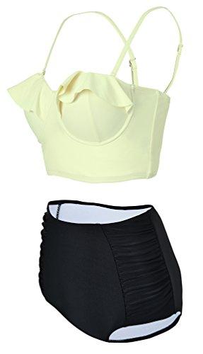 EmilyLe traje de baño femenino 2 piezas de alta cintura de la vendimia del pectoral guisantes bikini y acolchados floral moldeado Top amarillo