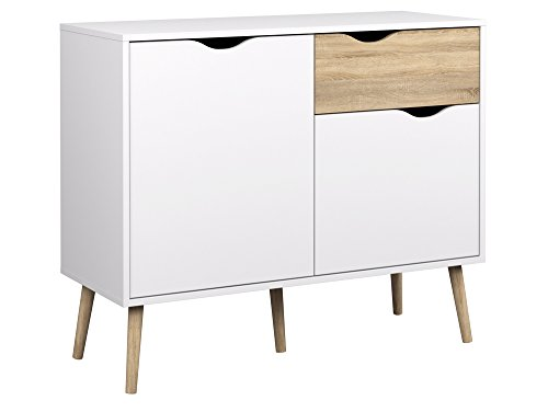 Tvilum 7538749ak Diana Sideboard with 2 Doors and 1 Drawer, White Oak Two Doors One Drawer