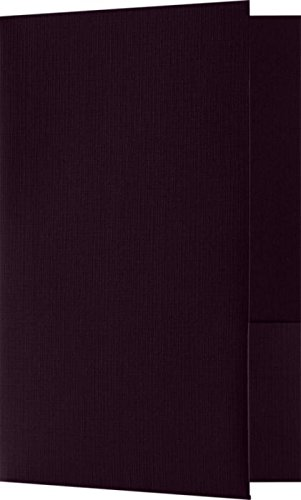 Small Presentation Folders - Two Pockets - Eggplant Linen - Purple - Pack of 25 | Perfect for Smaller pamphlets, Stepped Inserts and More! | MF-144-DE100-25