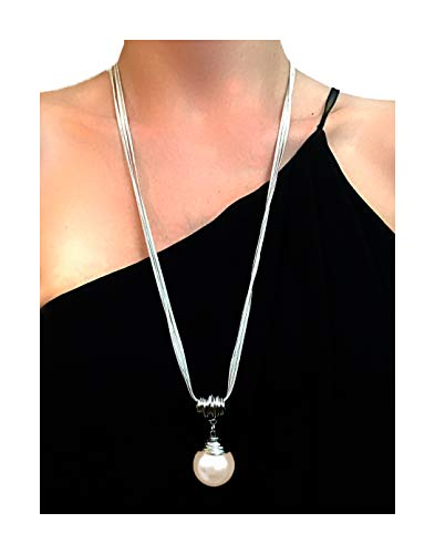 Nataliya Long Pendant Necklace (Round Pear Drop - Drop Of Pearl Pendant Mother