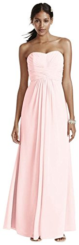 Long Strapless Chiffon Bridesmaid Dress And Pleated Bodice Style F15555