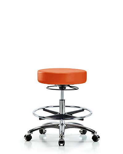 - Adjustable Stool for Exam Rooms, Labs, and Dentists with Wheels - Chrome, Bench Height, Orange