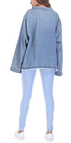Donna Hot Invernali Sciolto Moda Autunno Fidanzato Jacket Plus Style Glamorous Giacca Semplice Lunga Outerwear Prodotto Cappotto Manica Blu Jeans Streetwear Giacche WBnFgx