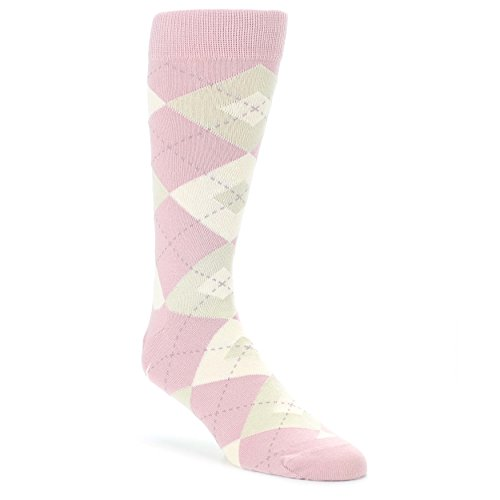 Roses Argyle (Dusty Rose Champagne Argyle Men's Dress Socks - Statement Sockwear)