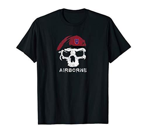 Vintage Army 82nd Airborne Skull Maroon Beret Tshirt (Airborne Beret)