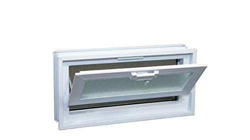 "Glass Block Hopper Vent - 16""W x 8""H Vinyl Hopper Vent (White)"