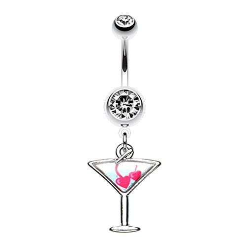 - Covet Jewelry Heart Cherries Martini Glass Belly Button Ring