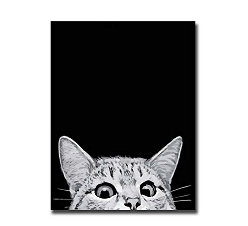 (ZYCH Oil Painting Animal cat Canvas Wall Art Modern Art Work Home Decoration Painting 16x24inch (40x60cm) )