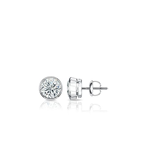 Diamond Wish 14k White Gold Round Diamond Stud Earrings (1/6cttw, Good, I2-I3) Bezel Set, Screw-Back Bezel Setting Diamond Stud Earring