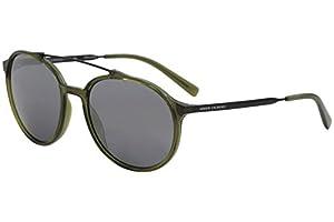 Armani Exchange Men's Injected Man Non-Polarized Iridium Round Sunglasses, Transparent Army Green, 57 mm