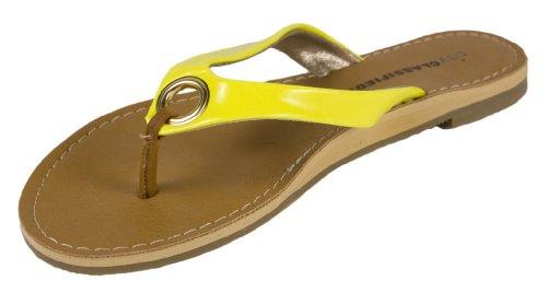 Micky! Efter Stad Klassificeras Söta Och Bekväma Klassiska Flip-flop Rem Sandaler I Neongul Patent
