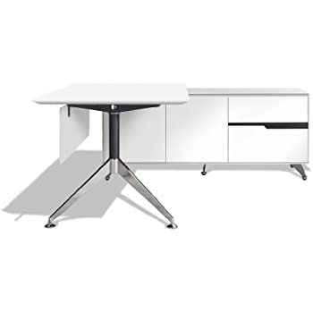 Amazon Com Modern White Lacquer L Shaped Executive Desk