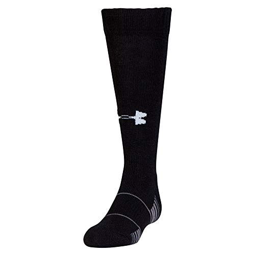 Under Armour Unisex-Child Team Over-The-Calf Socks, 1-Pair, Shoe Size: Youth 1-4, Black/White