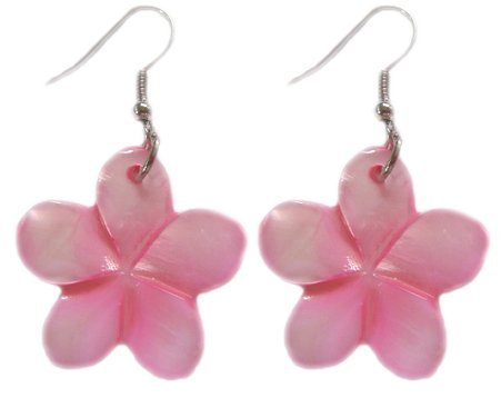 - Hawaiian Jewelry Pink Plumeria Flower Shell Earrings