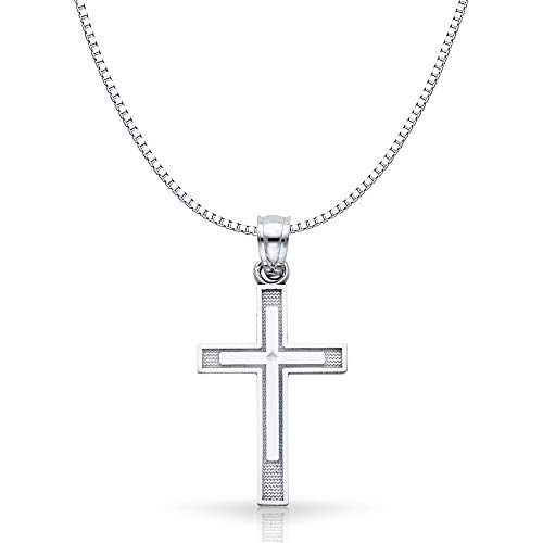 14K White Gold Cross Religious Charm Pendant with 1mm Box Chain Necklace - 20
