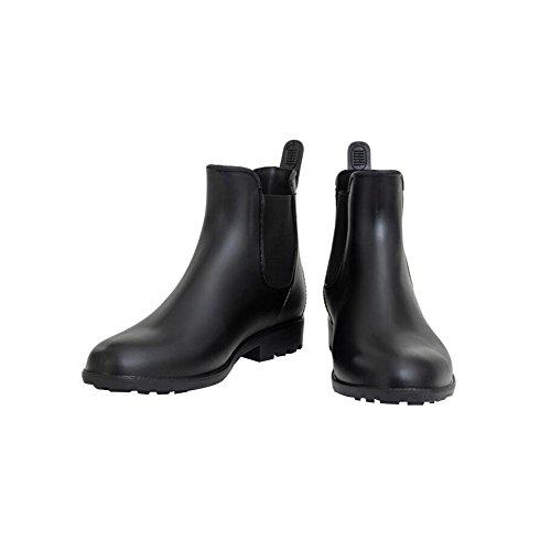 Haodasi Womens Casual Elastic Martin Rainboots Waterproof Rubber Rain Shoes Ankle Boots Black IcIoKjerLi