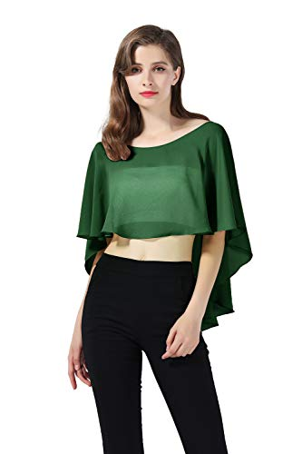 - Bridal Capelet Chiffon Cape Shawls High-Low Short Tops For Women Wedding Dresses (Moss Green)