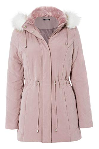 Faux Originals Coat Taille Roman Fur 44 Hood Microfibre Rose AUMqxg