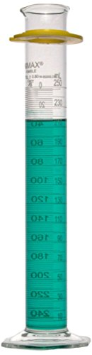 Kimble Chase KIMAX 20028W-250 Borosilicate Glass Class A Cylinder with Reverse Metric Scale, Calibrated to Deliver, 250mL Capacity (Case of 4) (Metric Reverse Kimax Scale)