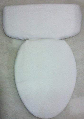 (White Fleece Fabric COVER Toilet Seat Lid or Tank Top or (Toilet Seat and Tank Top))