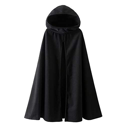 Womens Leisure Hooded Split Front Poncho Cape Cloak Trench Coat Outwear Halloween Outfit Black Size Small