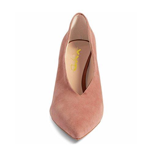 Xyd Mujeres Fashion Gamuza Bombas De Tacón Alto Punta Estrecha V Cut Slip On Zapatos De Vestir Coral