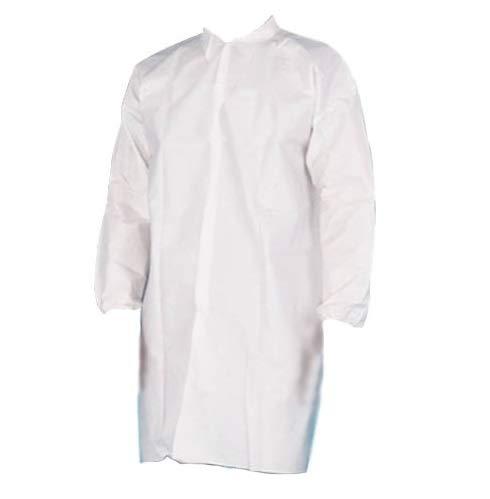 Microporous 50G White Lab Coats, No Pocket, 4 Snaps, Elastic Wrists X-Large 100 Pieces