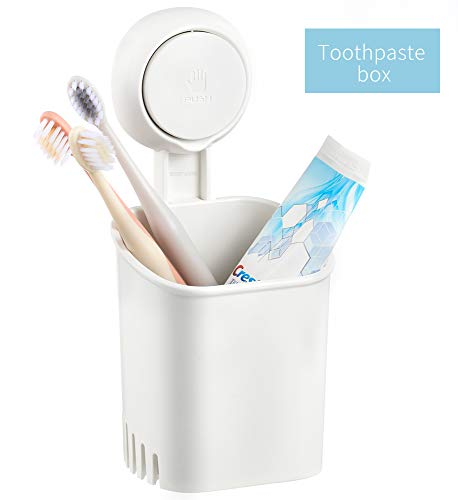Budget & Good Suction Cup Shower Toothbrush Holder, Power Lock Electric Toothbrush Toothpaste Razor Cup Holder for Bathroom, Storage Solution for Kitchen Utensil Holder