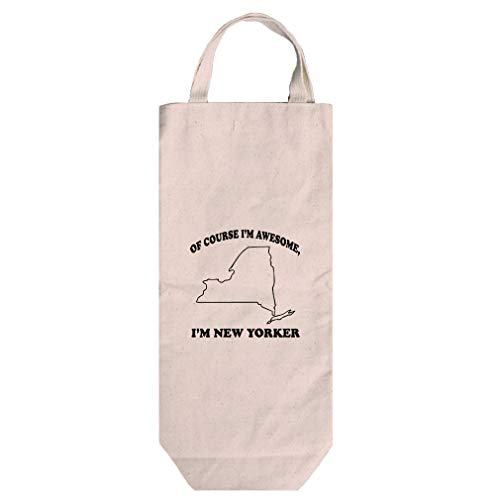 (Of Course Awesome I'm New Yorker New Cotton Canvas Wine Bag Tote With Handles)