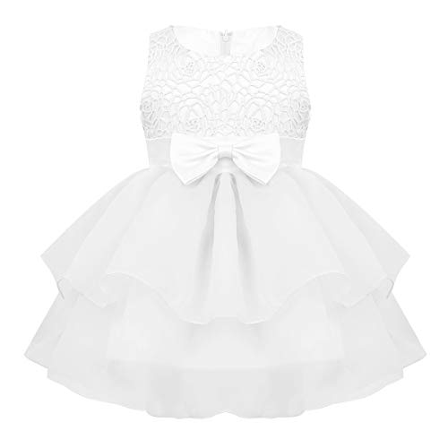 - MSemis Baby Girls Embroidered Flower Dresses Christening Baptism Party Formal Dress White Organza 6-12 Months
