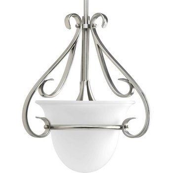 - Progress Lighting P5144-09 1-Light Stem-Hung Mini-Pendant with Etched White Bell-Shaped Glass Bowl and Squared Scrolls and Arms, Brushed Nickel
