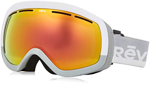 Revo Unisex RG 7000 Capsul Ski & Snowboard Sport Polarized UV Protection Goggles, White/Gray Frame, Solar Orange ()
