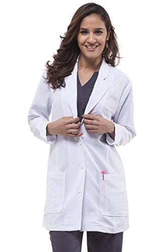 - healing hands Purple Label Women's Faith 5053 Lab Coat Scrubs- White- X-Large