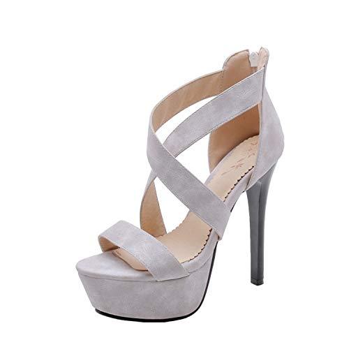(Hbvza Super High Heel Gladiator Sandals Women Open Toe Back Zip Faux Suede Cross Tied Rome Sandals Ladies Nightclub Shoes 2019 Gray 4.5)