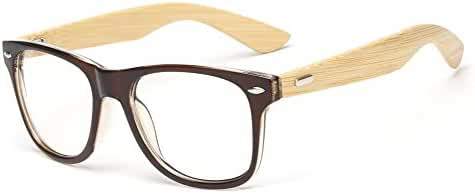Outray Retro 80's Wooden Frame Clear Lens Glasses Sunglasses