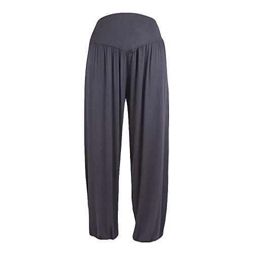 (CUCUHAM Womens Elastic Loose Casual Modal Cotton Soft Yoga Sports Dance Harem Pants (X Dark Gray,Large))