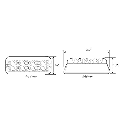 Grand General 81834 White/Clear Medium Rectangular 8 LED Strobe Light: Automotive