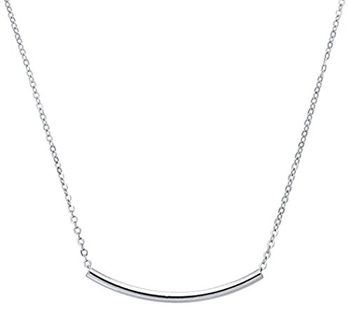 Sterling Silver Tube Necklace Layering Necklace 16 inch Delicate Long Curved Bar Jewelry Great Gift SSNK16-113S